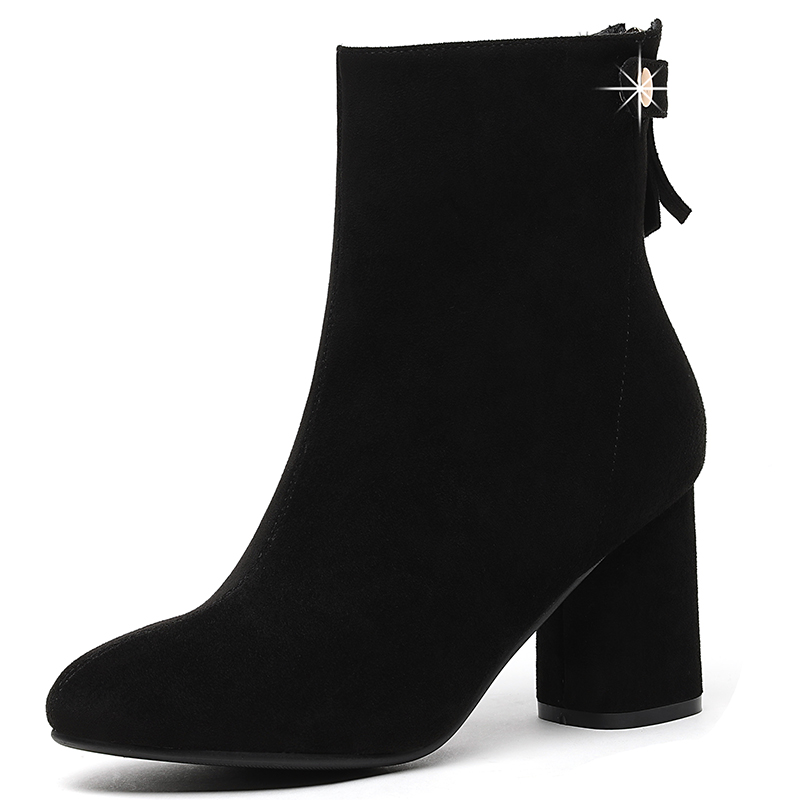 Mid Calf Boots For Women Chelsea Black Red Zip Fashion Short Boots Square High Heel Shoes Woman Microfiber Flock Shoes YG A0015 in Mid Calf Boots from Shoes
