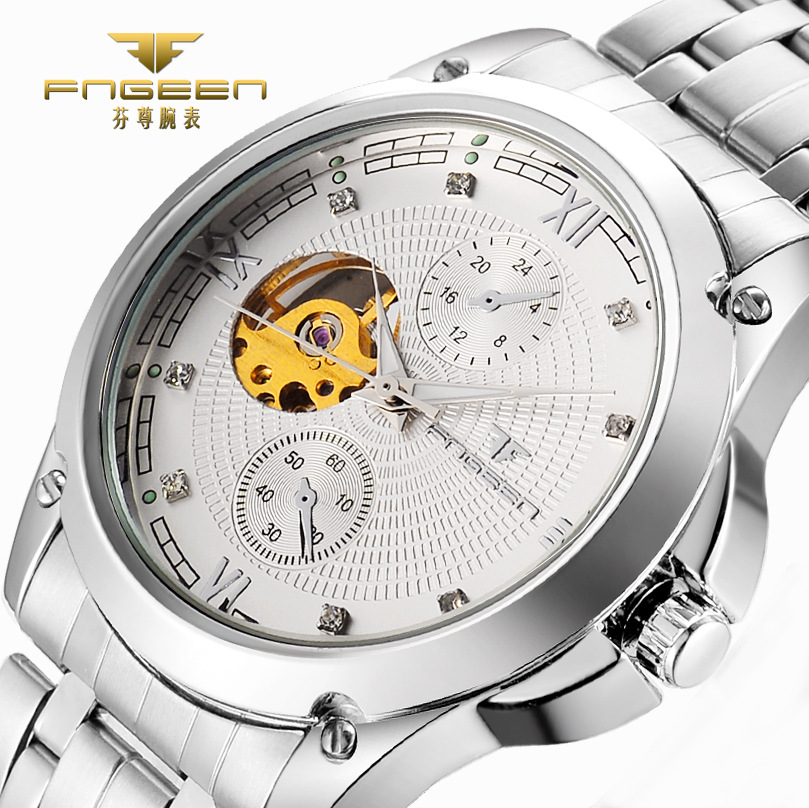 FNGEEN New Mens Automatic Mechanical Watches High-End Leisure Hollow Skeleton Watch Luxury Fashion Business Men Wristwatch 8832 fashion fngeen brand simple gridding texture dial automatic mechanical men business wrist watch calender display clock 6608g