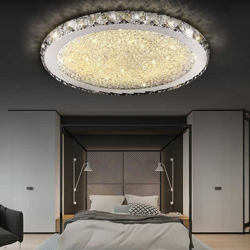 Modern Kreatif Sederhana Langit-langit Melingkar Lampu Kristal Lampu untuk Rumah Ruang Tamu Kamar Tidur Restoran dengan Lampu LED