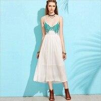 Fashion 2017 Summer Dress Women Chiffon Backless Beach Dress With Embroidery White Dress Female Summer Dresses