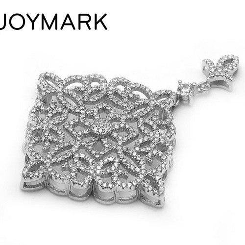 39.5x57.5mm chanceux fleur Zircon Pave 925 en argent Sterling pendentif connecteur charme bricolage perle bijoux résultats accessoire SLJQ-CZ029