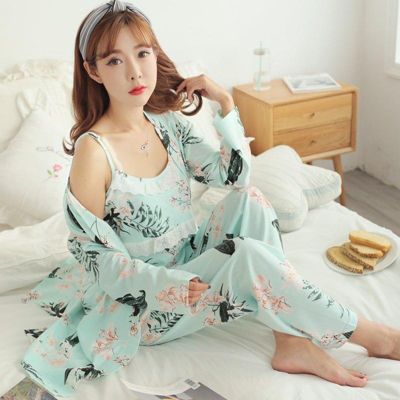 050 #3 teile/satz Sexy Floral Print Baumwolle Mutterschaft Pflege Nachtwäsche Sommer Herbst Nachtwäsche für Schwangere Frauen Schwangerschaft Pyjamas