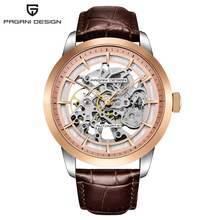 цена на Fashion Luxury Brand Pagani Leather Tourbillon Watch Automatic Men Wristwatch Men Mechanical Steel Watches Relogio Masculino