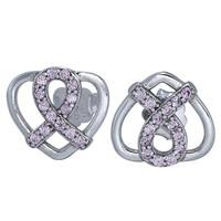 925 Sterling Silver Stud Earrings Sign Of Peace Style Love Heart Crystal Earrings For Women Wedding