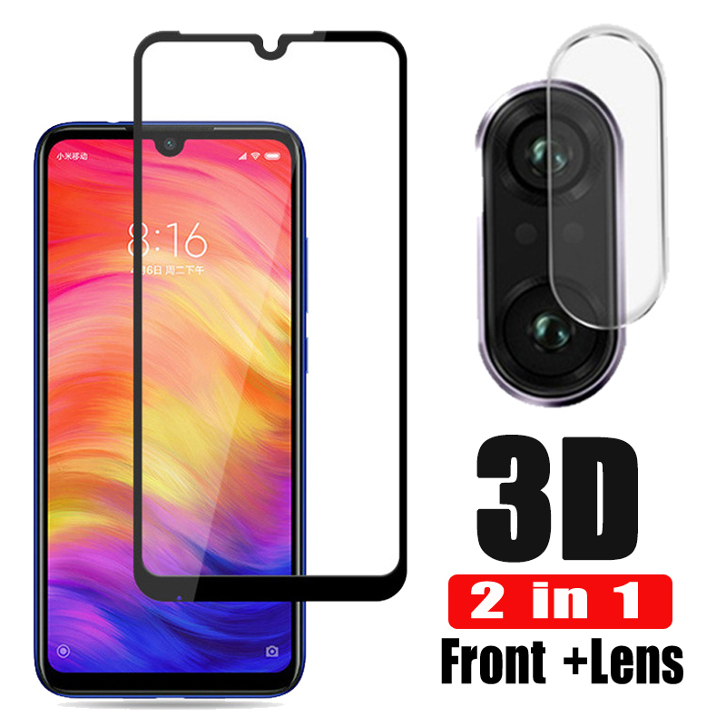 2-in-1 3D Tempered Glass For Xiaomi Redmi Note 7 Camera Lens Glas Redmi Note 7 Glass Screen Protector Note7 6.3