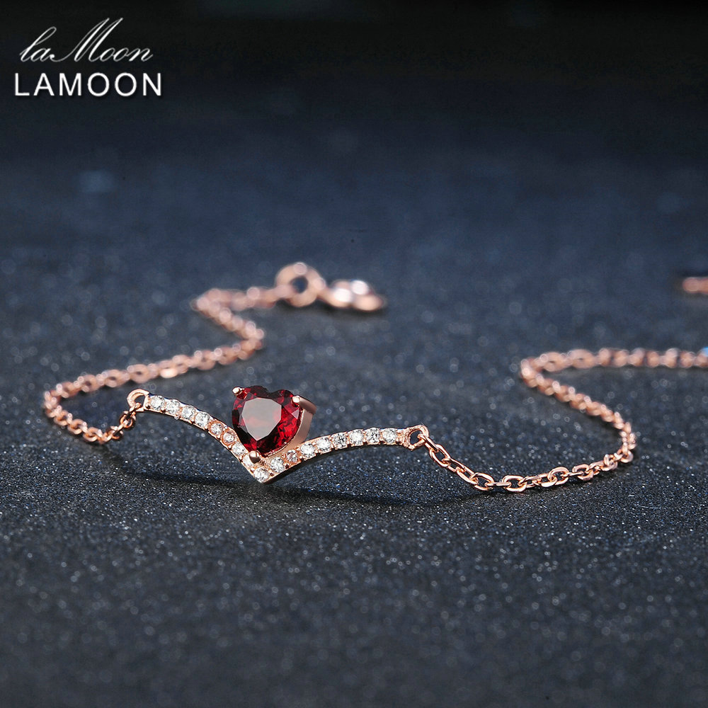 Lamoon Heart 100 Natural Gemstone Classic Red 0 3ct Garnet 925 Sterling Silver Jewelry 18KGP Chain