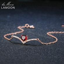 Lamoon Corazón 100% Piedra Preciosa Natural 0.3ct Clásico Rojo Granate 925 Joyería de Plata Esterlina S925 Pulsera de Cadena 18KGP Encanto LMHI011
