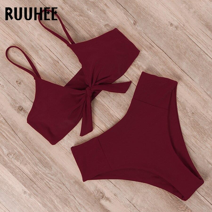 HTB1bn0weoCF3KVjSZJnq6znHFXaA RUUHEE Bikini Swimwear Women Swimsuit 2019 High Waist Bikini Set Push Up Front Knot Bathing Suit Women Summer Beach wear Biquini