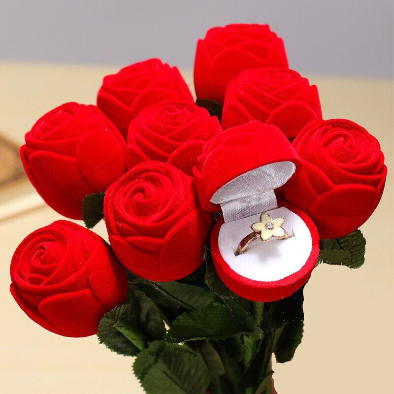 elegant red rose ring boxes fashion earrings ring jewelry