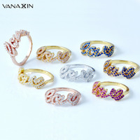 VANAXIN Romantic Love Letter Rings For Women 925 Sterling Silver Gold Rose Silver Color Multi Color