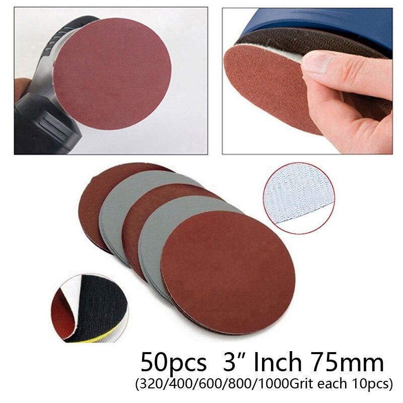 50 PCS / Set Sanding Discs 75mm Car SUV 3 Inch Mixed Polishing Sanding 320-1000 Grit / 800-3000 Grit Paper Sander Disk Pads