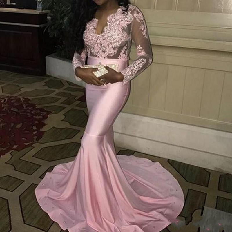 Blush Pink   Evening     Dresses   Mermaid Sexy Deep V Neck Satin Robe De Soiree Full Sleeves Lace   Evening     Dress   Long Appliques
