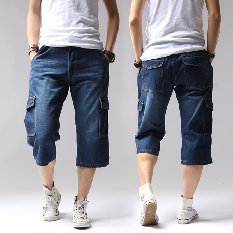2019 Summer Denim Jean Men Shorts Casual Solid Loose Shorts Cargo Knee Length Short Multi Pocket Bermuda Male Long Big Tall Size