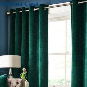 Image 2 - Yüksek gölgeleme lüks kadife karartma Windows perde örtüsü paneli oturma odası yatak odası için ev içi dekorasyon düz renk