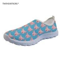 Twoheartsgirl Cute Pet Pig Print Mesh Loafers for Women Breathable Slip on Flats Lightweight Summer Female Ladies Mesh Sneakers