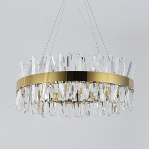 Image 4 - חדש מודרני מסעדת נברשת כרום/זהב עגול קריסטל מנורת סלון קישוט נברשת LED מלון מנורה