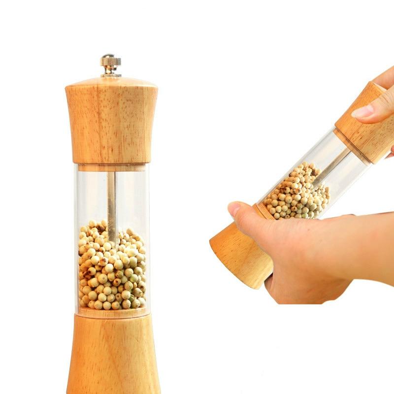 6 inch Cooking wooden oak pepper spice mills grinder