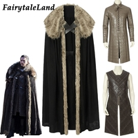 Newest Game of Thrones Season 8 cosplay Jon Snow costume Cloak Top Jon Snow costume Outfit PU Leather Vest suit