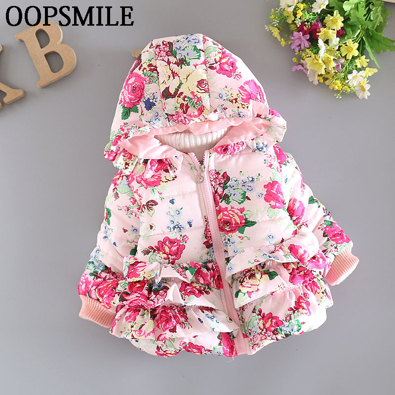 OOPSMILE Factory Store New baby girl's flower jacket coats girl outerwear autumn Winter Children clothing  outerwear Hooded Jacket