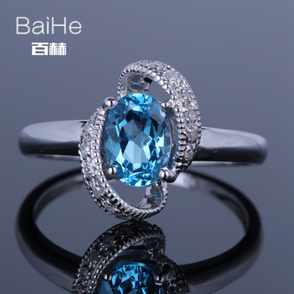 BAIHE Sterling Silver 925 1.2ct Certified Flawless Oval CUT Genuine Blue Topaz Engagement Women Cute/Romantic Fine Jewelry Ring BAIHE Sterling Silver 925 1.2ct Certified Flawless Oval CUT Genuine Blue Topaz Engagement Women Cute/Romantic Fine Jewelry Ring