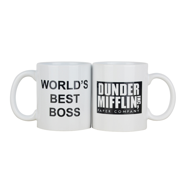 Coffee Mug With Dunder Mifflin The Office World s Best Boss 11 oz Funny Ceramic Coffee Tea Cocoa Mug Unique office gift in Mugs from Home Garden