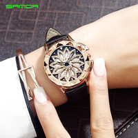 SANDA New Women Rhinestone   Watches   Lady Rotation   Dress     Watch   brand Real Leather Band Big Dial Bracelet Wristwatch Crystal   Watch