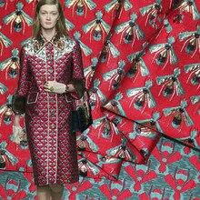 1Meter Brocade Jacquard Fabric High Density Bee 63 360G/M Polyester Material Sew On Women Dress Coat Patchwork Zakka Red