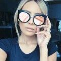 Clássico Espelho Olho de Gato em Ouro Rosa Mulheres Elegantes Óculos de Sol Do Vintage Marca de Moda Designer de Óculos de Sol Retro Senhora