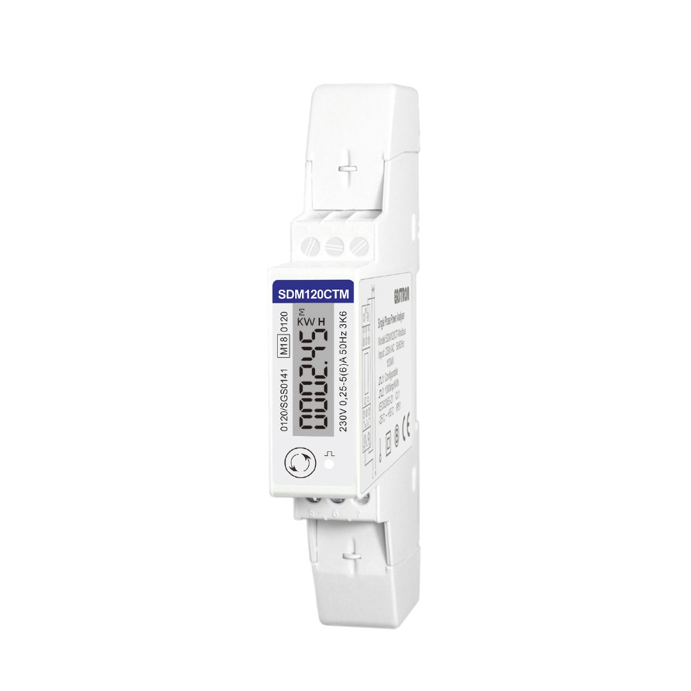 Candid Sdm120ctm 1 Phase 2 Wire, 230v, Rs485 Modbus, Measure Kwh,kvarh,u,i,p,q,pf,hz,dmd, Din Rail Energy Meter Products Hot Sale