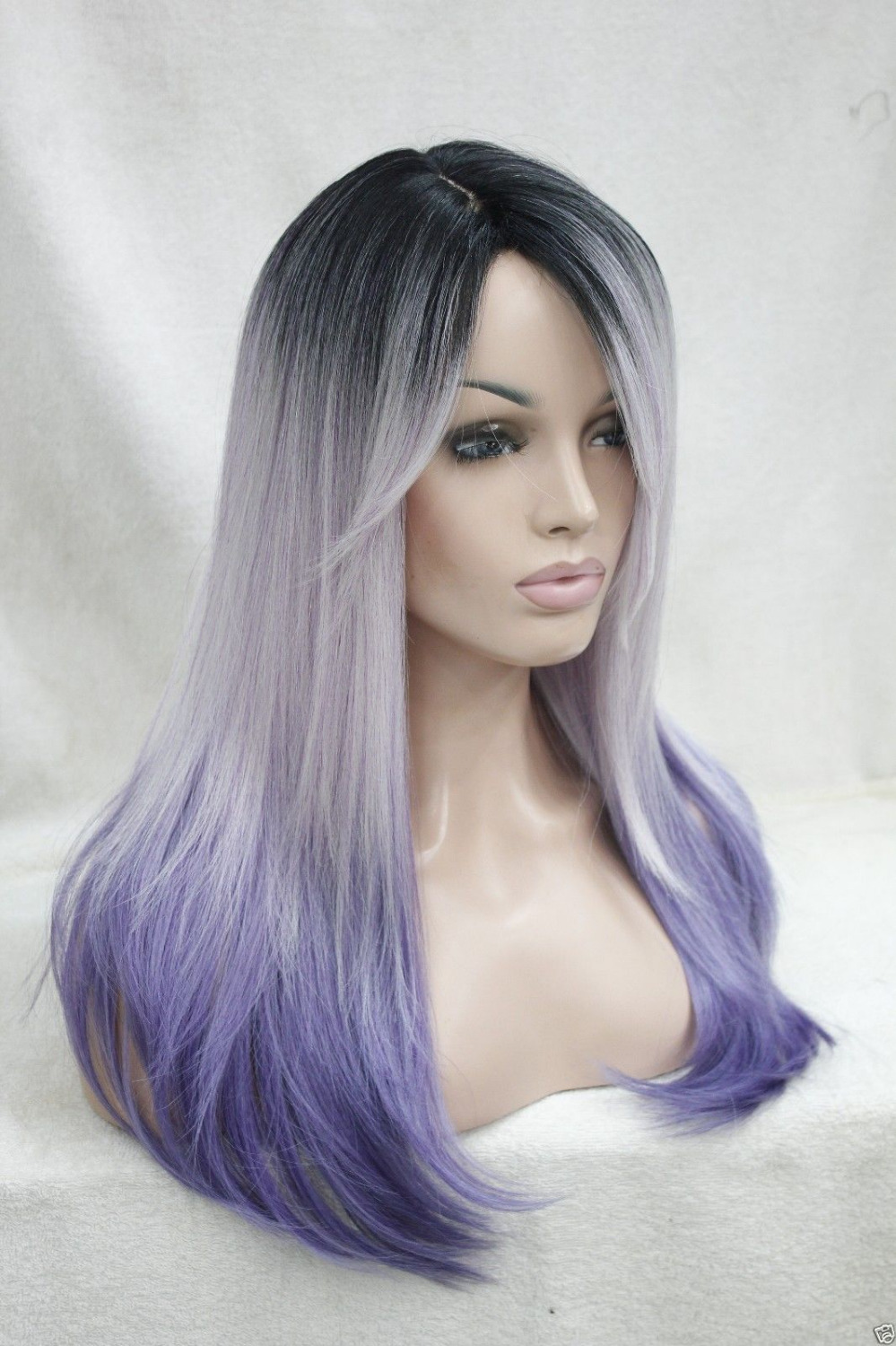 004284 Ombre Black Root White Purple Mix Heat Ok Long Straight Skin Top Hi-Quality Wig