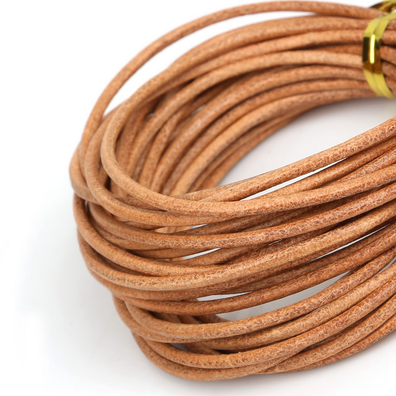 5 Meter Natural Color Real Genuine Leather Cord Round Rope String For DIY Necklace Bracelet Jewelry Cord Dia 1/1.5/2/3mm