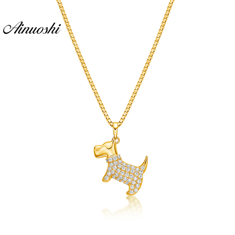 все цены на AINUOSHI 10K Solid Yellow Gold Pendant Cute Dog Pendant SONA Diamond Women Men Child Jewelry Little Animal 1.4g Separate Pendant онлайн