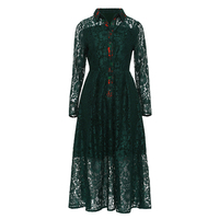 Young17 Women Vintage Dresses 2018 Spring Fall Hunter Long Sleeve Lapel Hollow Patchwork Green Elegant Lace
