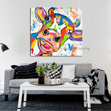 Cartoon Hand Painted Large Canvas Paintings Cow Oil Paintings Modern Decoration Wall Art Living Room Decor Pictures no Framed