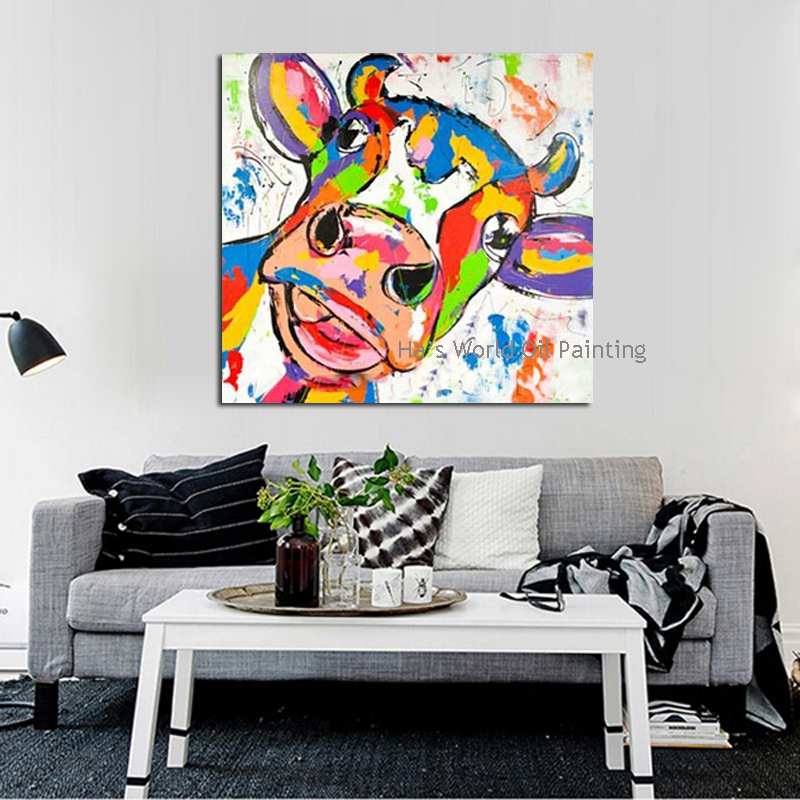 Cow oil painting promotion shop for promotional cow oil for Modern wall paintings living room
