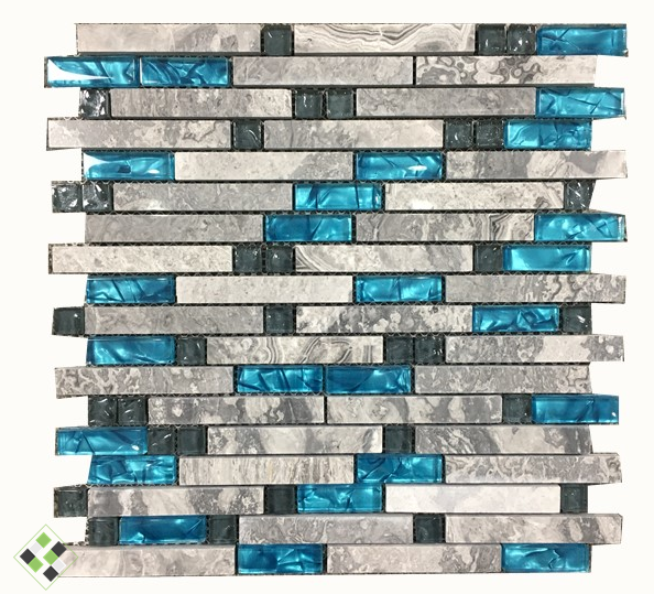 2017 HOT!Sea blue glass Mixed Grey Stone Mosaic,linear Bath shower/Fireplace/Kitchen wall tiles,Luxury Art wall sticker,LSSTG01 sea shell mosaic tiles seamless join natural pure white color kitchen wall mosaics tile hot sale free shipping