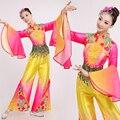 Плюс Размер Китайский Ancinet Костюм Женщины Танцовщица Носите Flared Рукавом Китайской Традиционной Национальной Вентилятор Yangko Танец Костюм 16