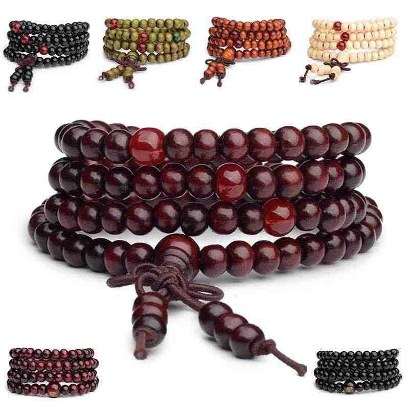 """עגול 6 מ""""מ חרוזים רב שכבתי בודהה תפילה אלגום טבעי פראי צמיד זול גברים נשים 108 עץ חרוז מתנת תכשיטי צמידים"""