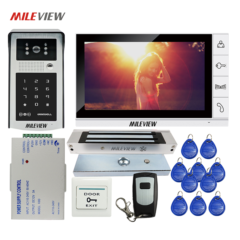 Free Shipping 9 LCD Screen Video Door Phone Intercom Kit Outdoor RFID Code Keypad Doorbell Camera 180kg Electric Magnetic Lock free shipping 7 lcd video door phone intercom system 2 screens rfid access code keypad password camera electric control lock