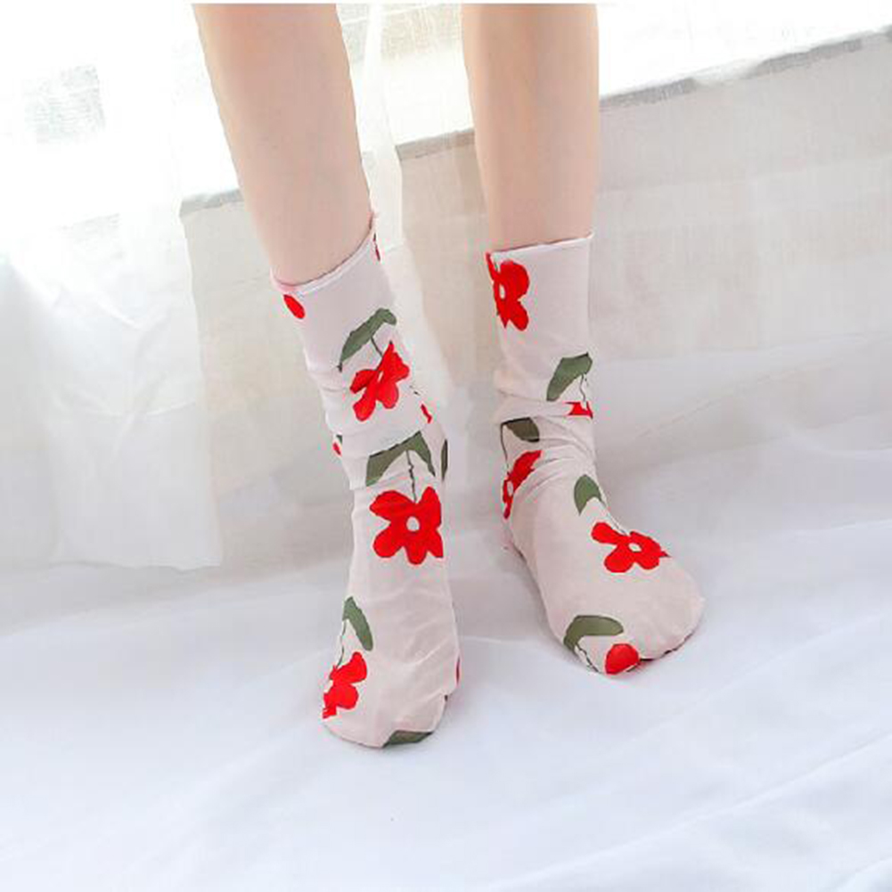 Women's Harajuku Breathable Transparent Mesh Small Flower  Socks.Lady Net Yarn Fishnet Lace Socks Female Hosiery Sox