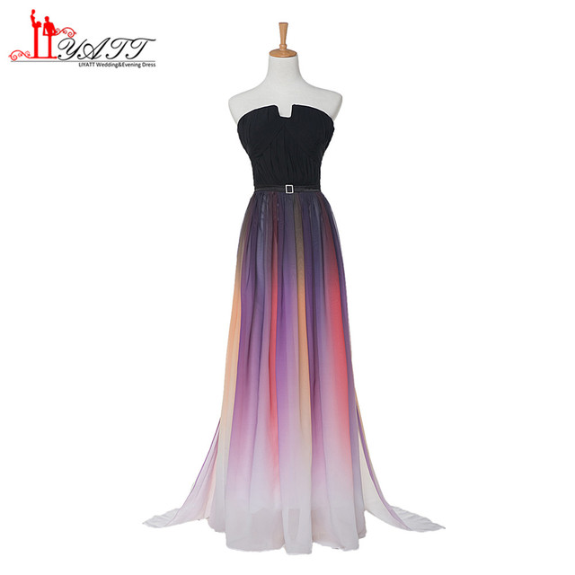 2a5d5bdf9b2 New Gradient Colorful Prom Dresses 2017 Sexy Ombre Chiffon Prom Dress  Evening Dress Strapless with Pleats Women Dress ZY031
