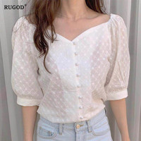 RUGOD New Single breasted womens tops and blouses V neck short sleeve waist slim blouse women