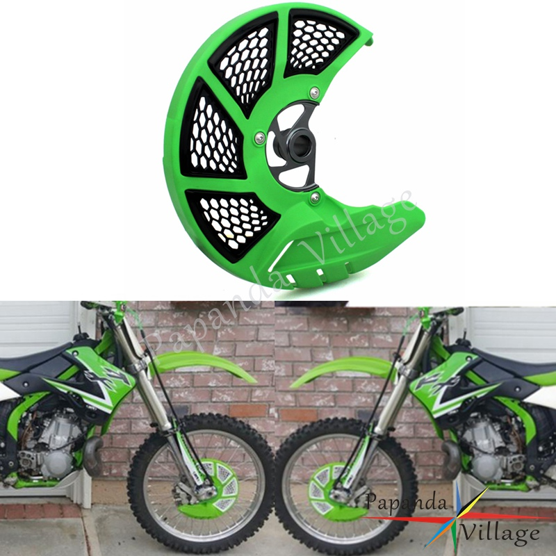 Green Motorcycles Front X Brake Disc Guard Cover Protector For Kawasaki KX 125 250 06-08 KX 250F 450F 06-18 KLX 450R 08-16
