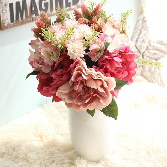 Kunstseide Gefalschte Blumen Pfingstrose Blumen Hochzeit Bouquet