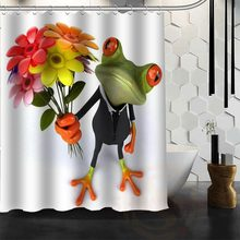 Best Nice Custom 3D Funny Frog Shower Curtain Bath Curtain Waterproof Fabric For Bathroom MORE SIZE WJY&141(China)