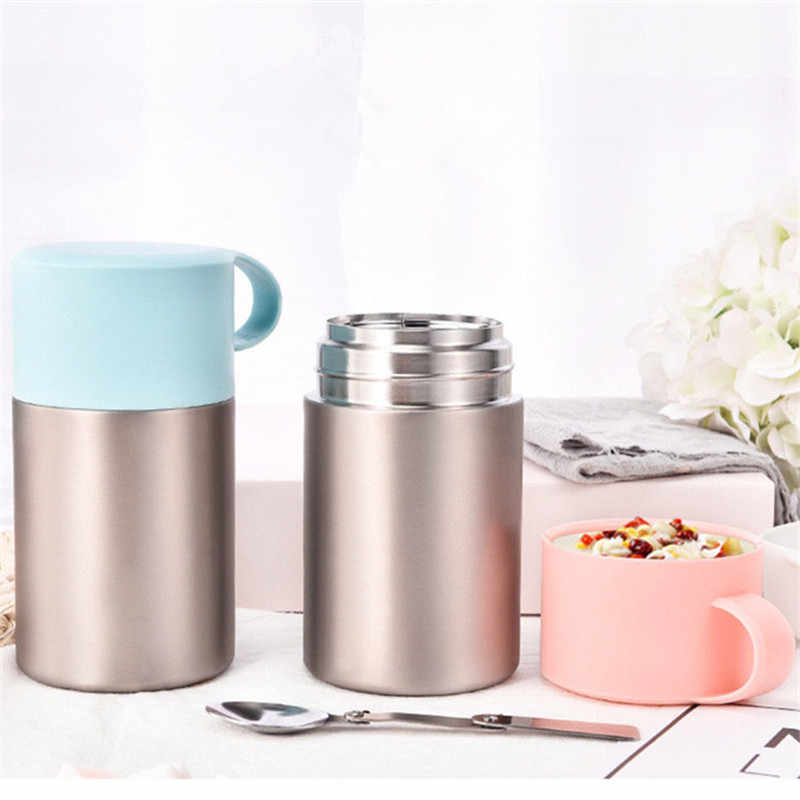 Hot sales 600ml Vacuum Insulated Lunch Box Keep Food Warm Leakproof Containers Stainless Steel Thermal Food jar Carriers handle