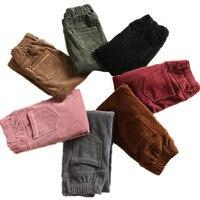 Women Corduroy Pants Plus Size Casual Thick Warm Elastic Waist Loose Pencil Pants High Waist Trousers Vintige Ladies Pants Q521