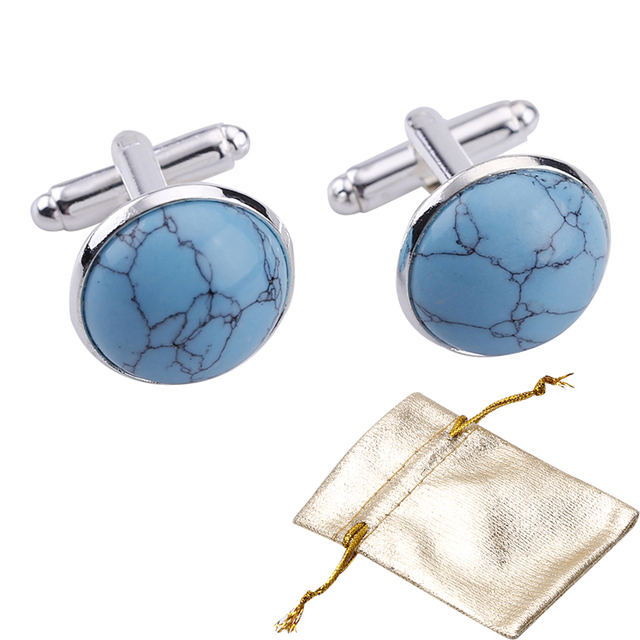 b802cbeb1134 2pcs Metal Howlite Blue stone Cufflinks Men's Shirts Cufflinks Groom  Wedding Business Shirt XK00116