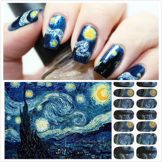 Van Gogh Starry Night Painting Nail Art Sticker Foils Decal Patch Diy Decoration