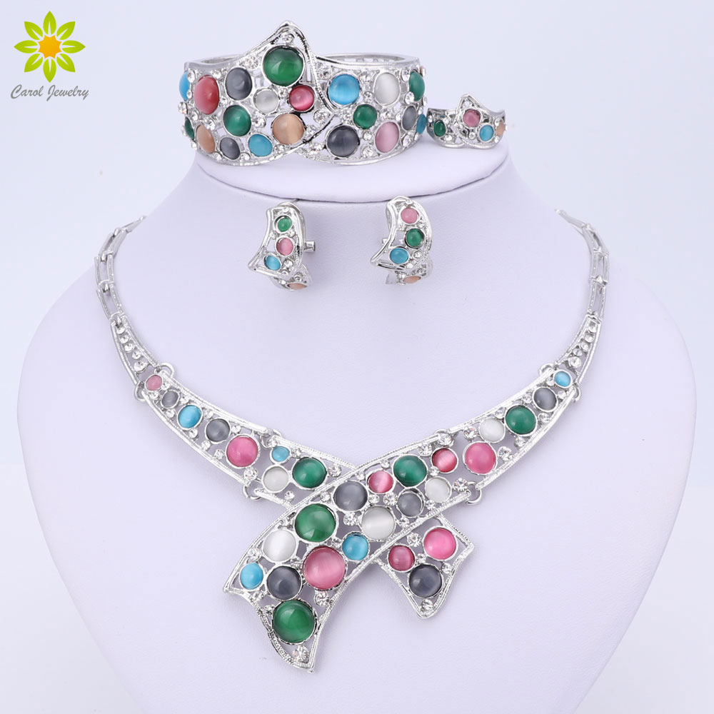 Wedding Bridal Rhinestone Jewelry Set For Women Crystal Necklace Bracelet Ring Earrings Silver Plated Luxury Accessories